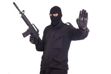 mercenary with CAR15 rifle