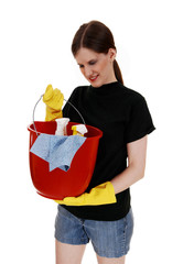 Woman with cleaning staff.
