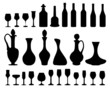 Silhouettes of wine glasses and bottles 2, vector
