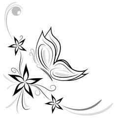 fiorellini stilizzati e farfalla decorazione
