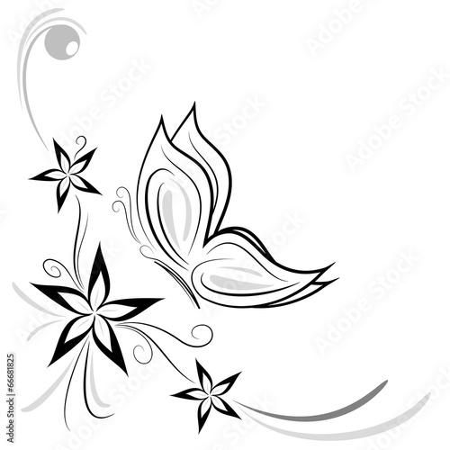 Quot Fiorellini Stilizzati E Farfalla Decorazione Quot Immagini E