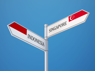 Indonesia Singapore  Sign Flags Concept