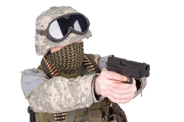 US soldier with hand gun on white background