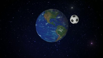 soccer ball orbiting the planet Earth