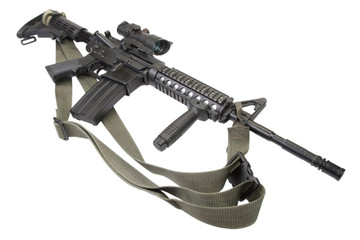 M4 carbine with silencer isolated on a white background