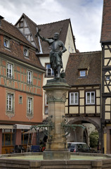 Fountain with a bronze statue of Lazare de Schwendi. Colmar