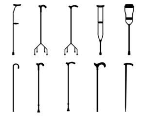 Black silhouettes of sticks and crutches, vector
