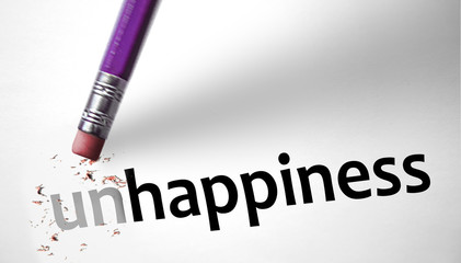 Eraser changing the word Unhappiness for Happiness