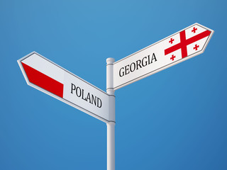 Poland Georgia  Sign Flags Concept