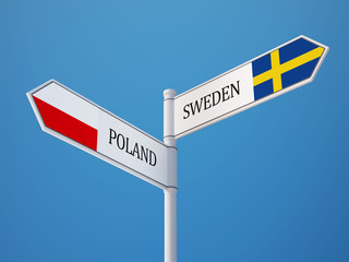 Poland Sweden  Sign Flags Concept