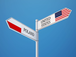 Poland United States  Sign Flags Concept