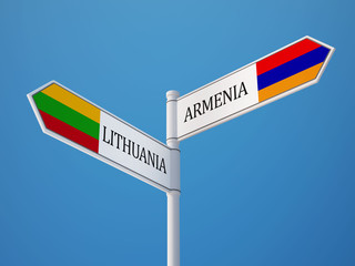 Lithuania Armenia  Sign Flags Concept