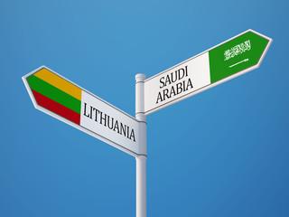 Lithuania Saudi Arabia  Sign Flags Concept