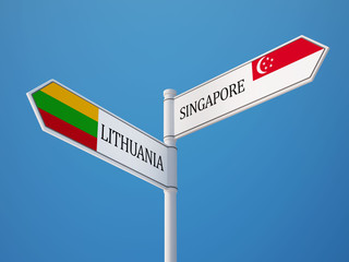 Lithuania Singapore  Sign Flags Concept