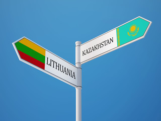 Lithuania Kazakhstan  Sign Flags Concept