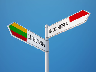 Lithuania Indonesia  Sign Flags Concept