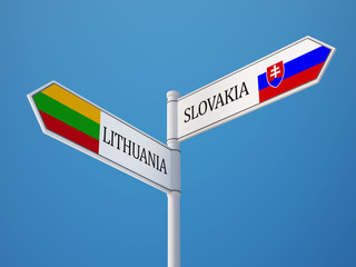 Lithuania Slovakia  Sign Flags Concept