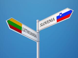 Lithuania Slovenia  Sign Flags Concept