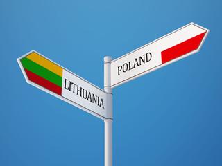 Lithuania Poland  Sign Flags Concept