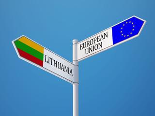 European Union Lithuania  Sign Flags Concept