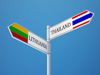 Thailand Lithuania  Sign Flags Concept