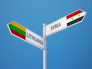 Syria Lithuania  Sign Flags Concept