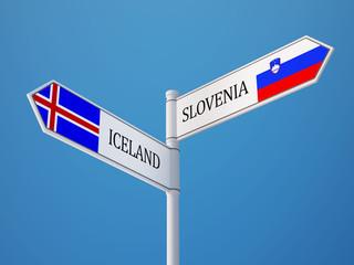 Iceland Slovenia  Sign Flags Concept