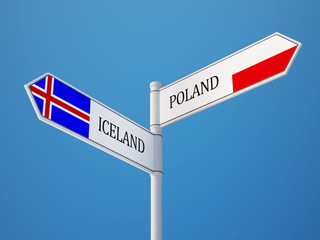Iceland Poland  Sign Flags Concept