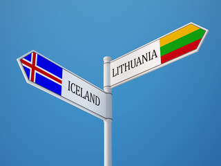 Iceland Lithuania  Sign Flags Concept