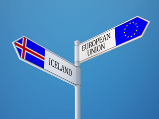 European Union Iceland  Sign Flags Concept