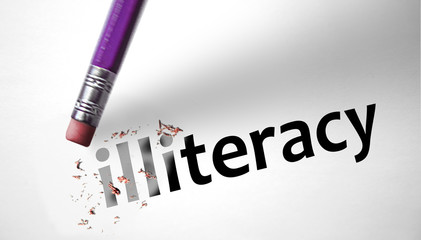 Eraser deleting the word Illiteracy