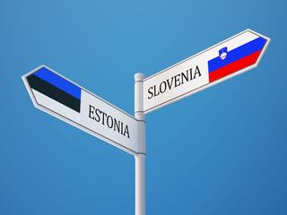 Estonia Slovenia  Sign Flags Concept