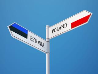 Estonia Poland  Sign Flags Concept