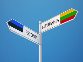 Estonia Lithuania  Sign Flags Concept