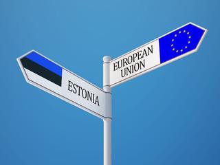 European Union Estonia  Sign Flags Concept