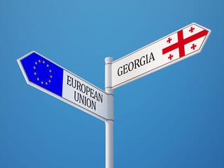 European Union Georgia  Sign Flags Concept