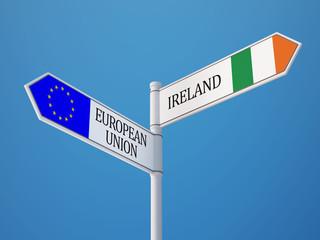 European Union Ireland  Sign Flags Concept