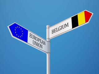 European Union Belgium  Sign Flags Concept