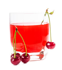 glass with cherries and cherry juice