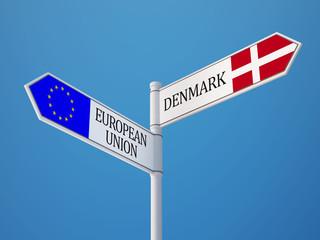 European Union Denmark  Sign Flags Concept