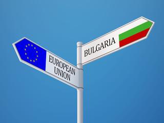 European Union Bulgaria  Sign Flags Concept