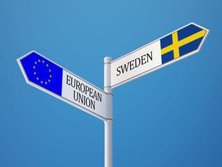 European Union Sweden  Sign Flags Concept