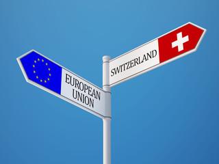 European Union Switzerland  Sign Flags Concept