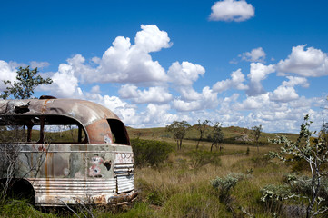 Abandoned bus in the Outback
