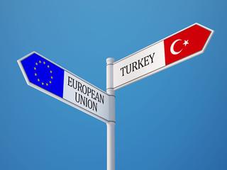 European Union Turkey  Sign Flags Concept