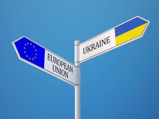 European Union Ukraine  Sign Flags Concept