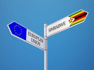European Union Zimbabwe  Sign Flags Concept