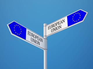 European Union  Sign Flags Concept