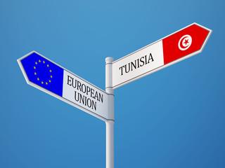 Tunisia European Union  Sign Flags Concept