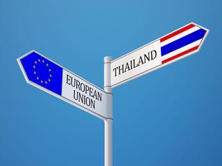 Thailand European Union  Sign Flags Concept
